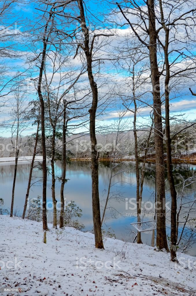 Lake View on  Winter Day stock photo