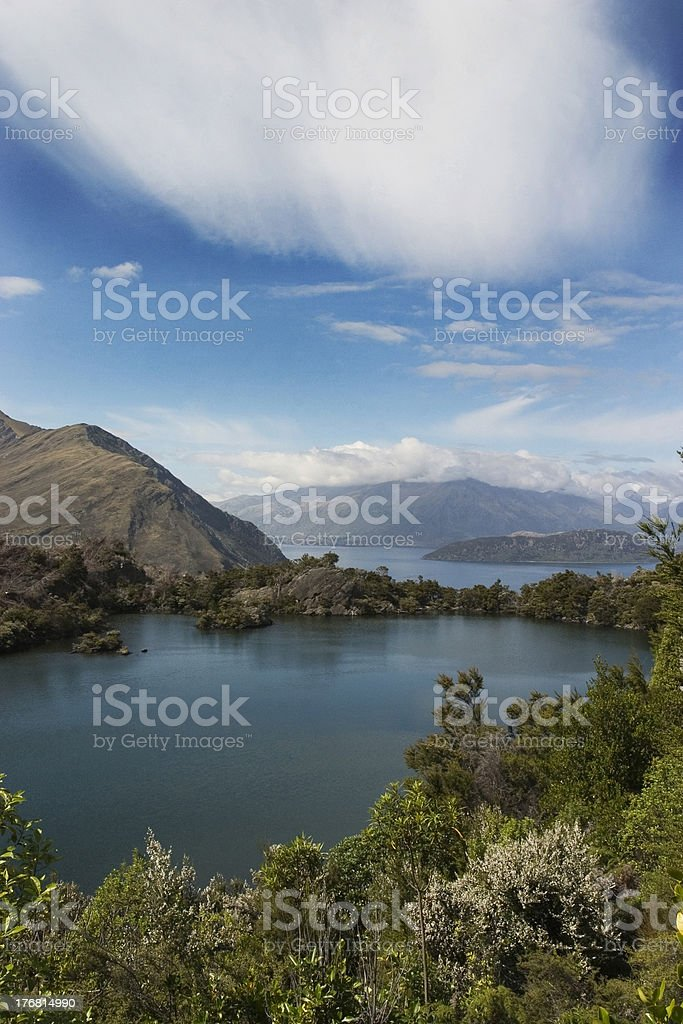 Lake view with clouds royalty-free stock photo