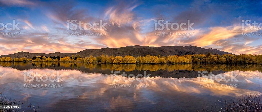 Lake Wairepo Arm Panorama. stock photo