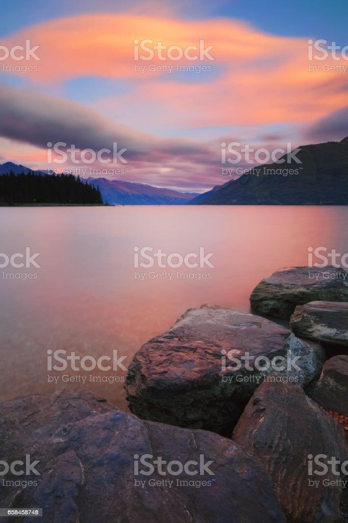 Lake Wakatipu And The Southern Alps stock photo