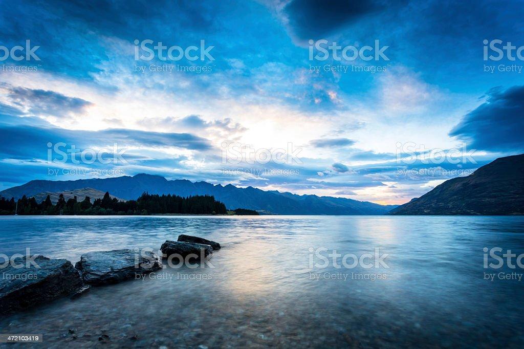 Lake Wakatipu at Sunrise, Queenstown, New Zealand stock photo