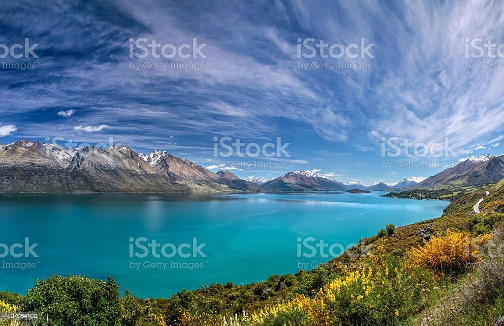 Lake Wakatipu between Queentown and Glenorchy stock photo