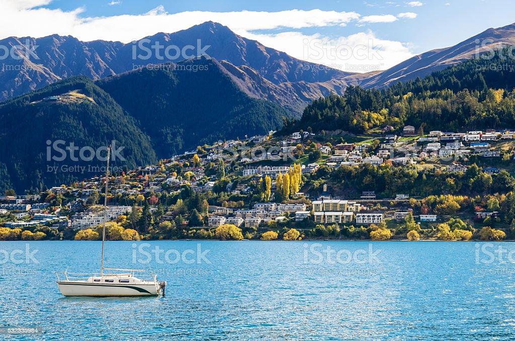 Lake Wakatipu in Queenstown, New Zealand. stock photo