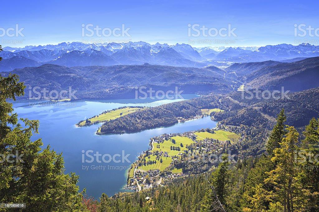 Lake Walchen and Wetterstein mountains stock photo
