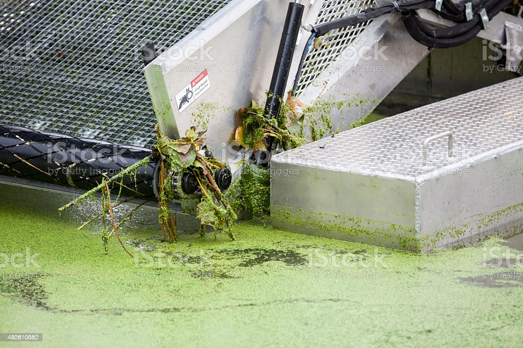 Lake Weed and Algae Removal with Harvesting Machine stock photo