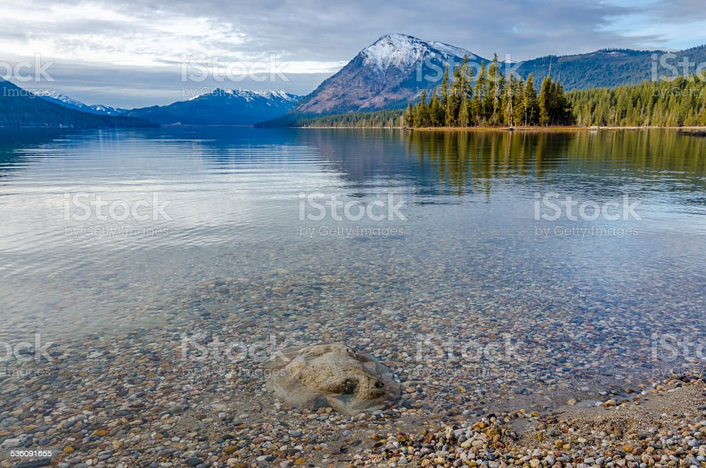 Lake Wenatchee in Winter stock photo