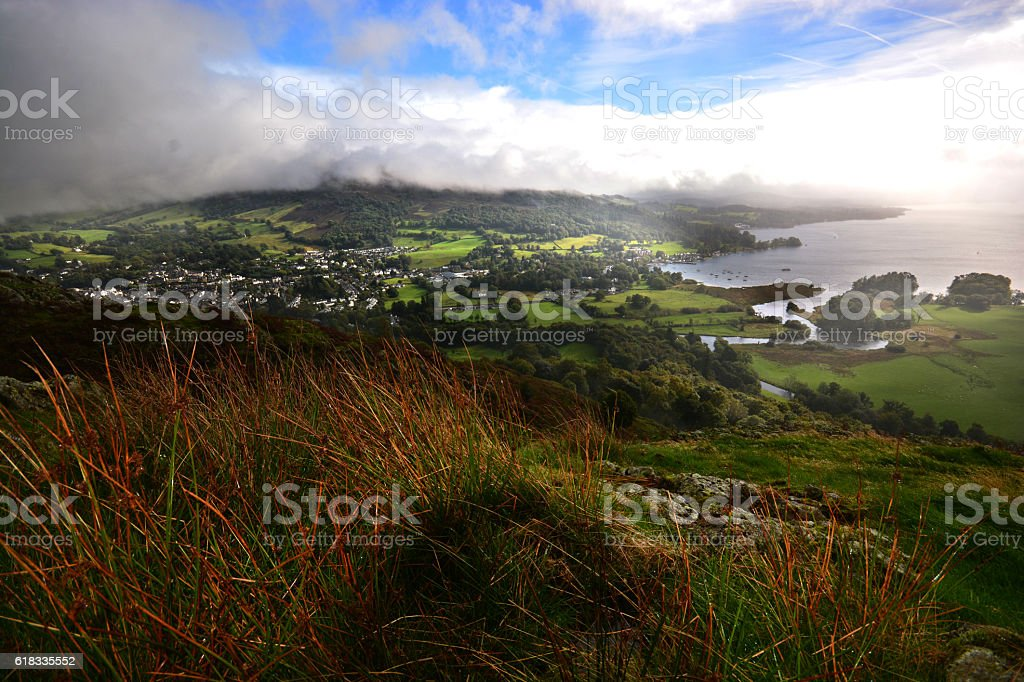 Lake Windermere and Ambleside from Loughrigg Fell stock photo