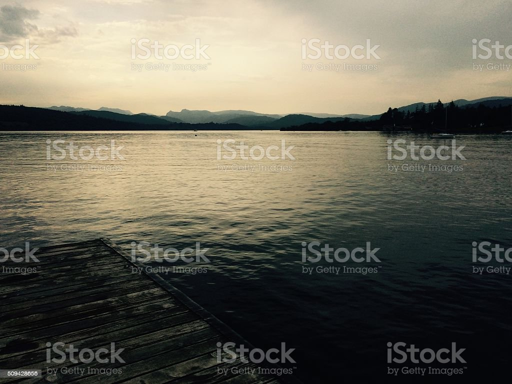 Lake Windermere and part of the jetty stock photo
