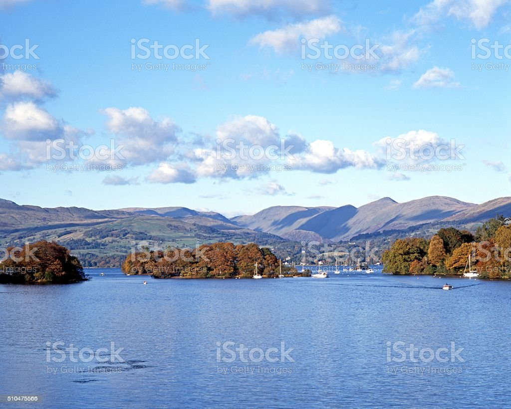 Lake Windermere during the Autumn. stock photo