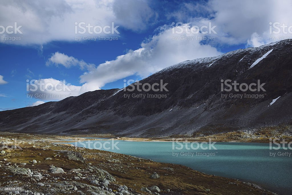 Lake with Blue Sky - Old Strynefjell Mountain Road, Norway stock photo