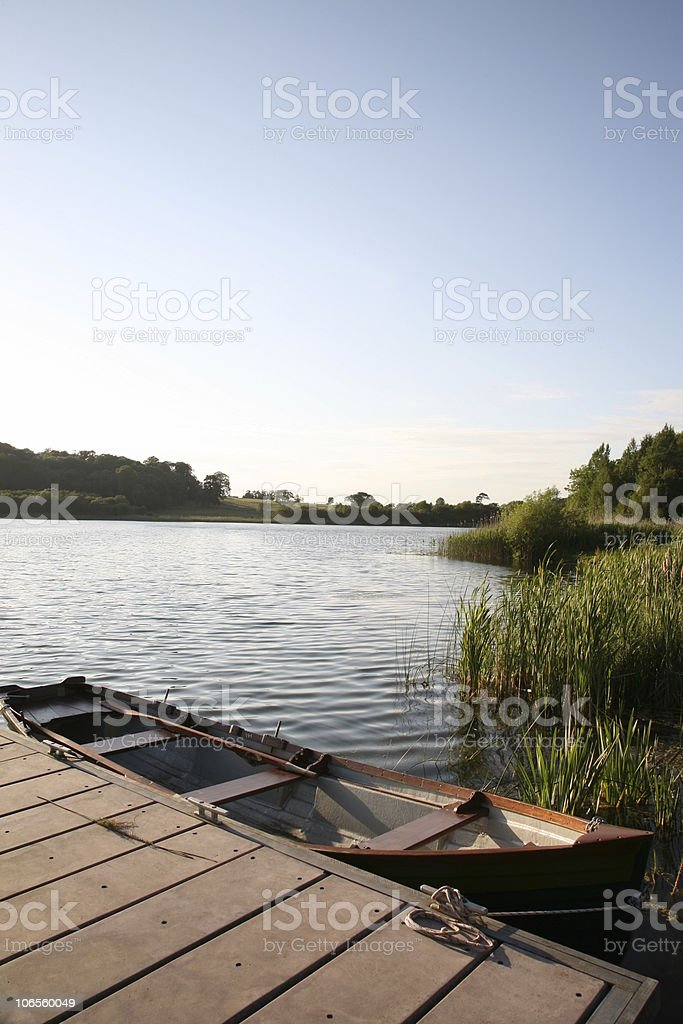 Lake with Boat royalty-free stock photo