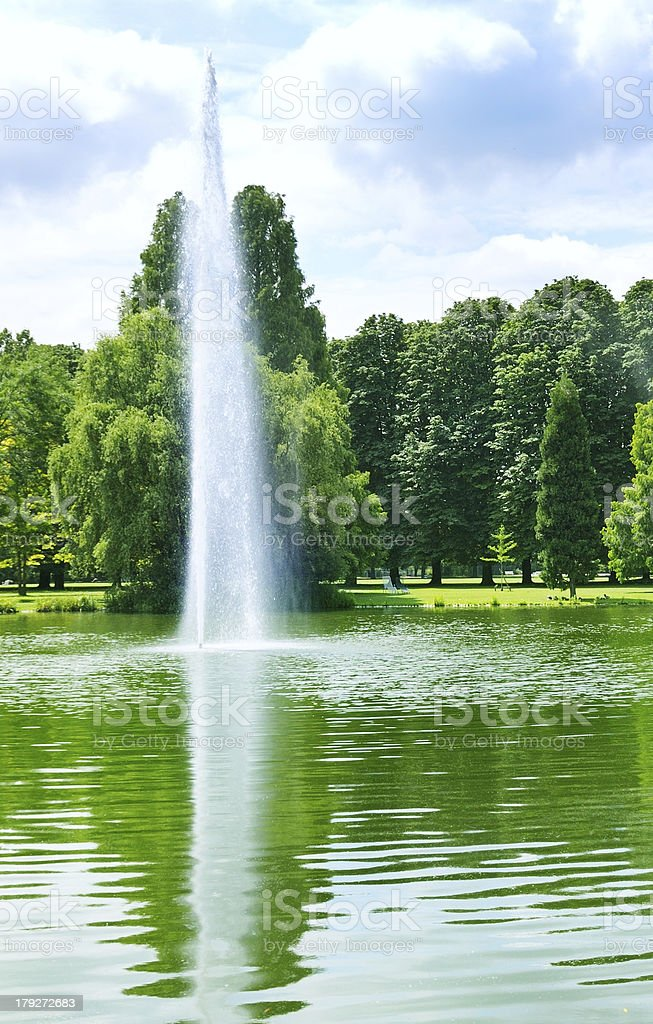 lake with fountains and  park royalty-free stock photo