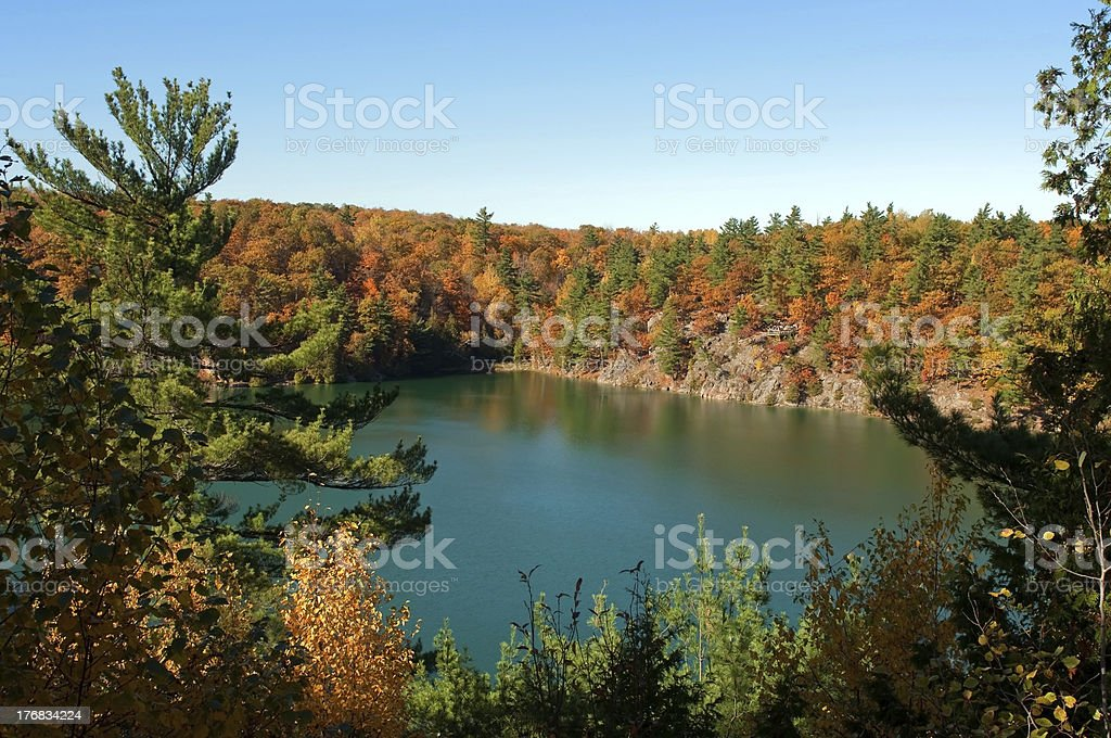 Lake with green water in autumn. stock photo