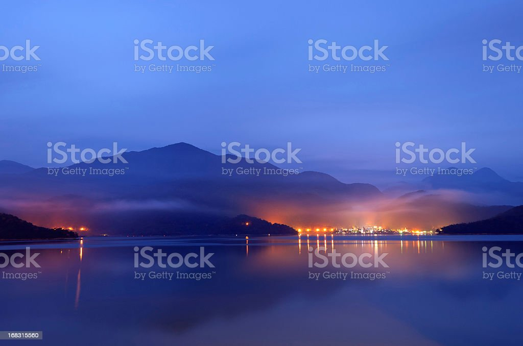 Lake with mist stock photo