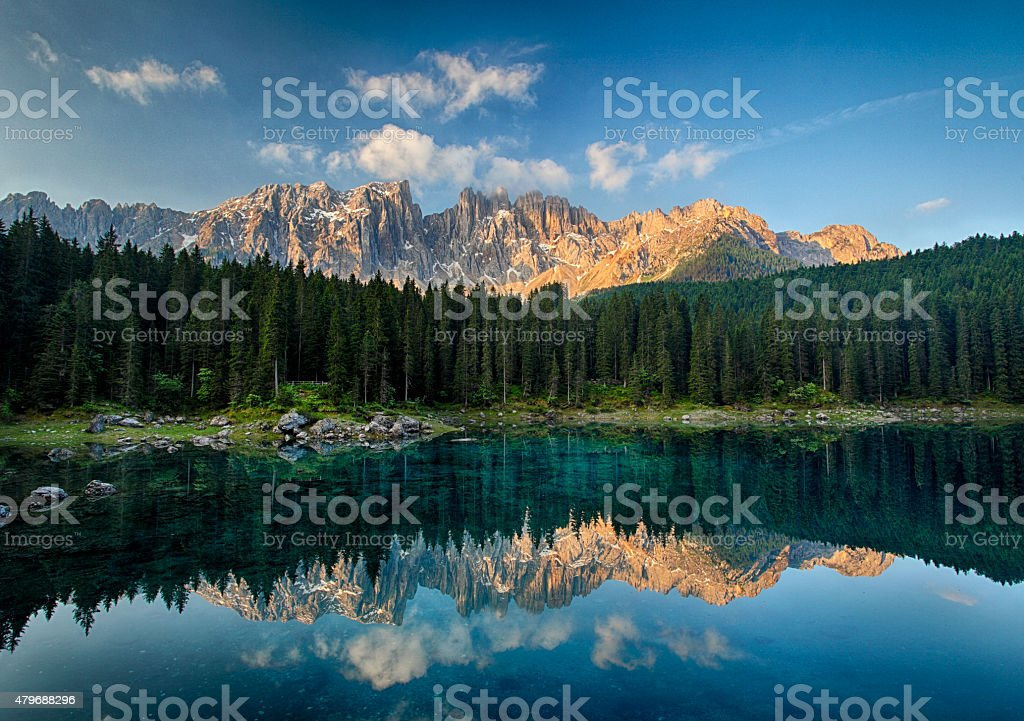 Lake with mountain forest landscape, Lago di Carezza stock photo