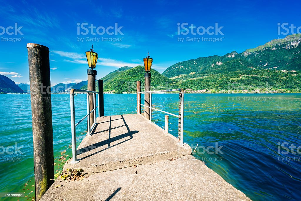 lake with mountains stock photo