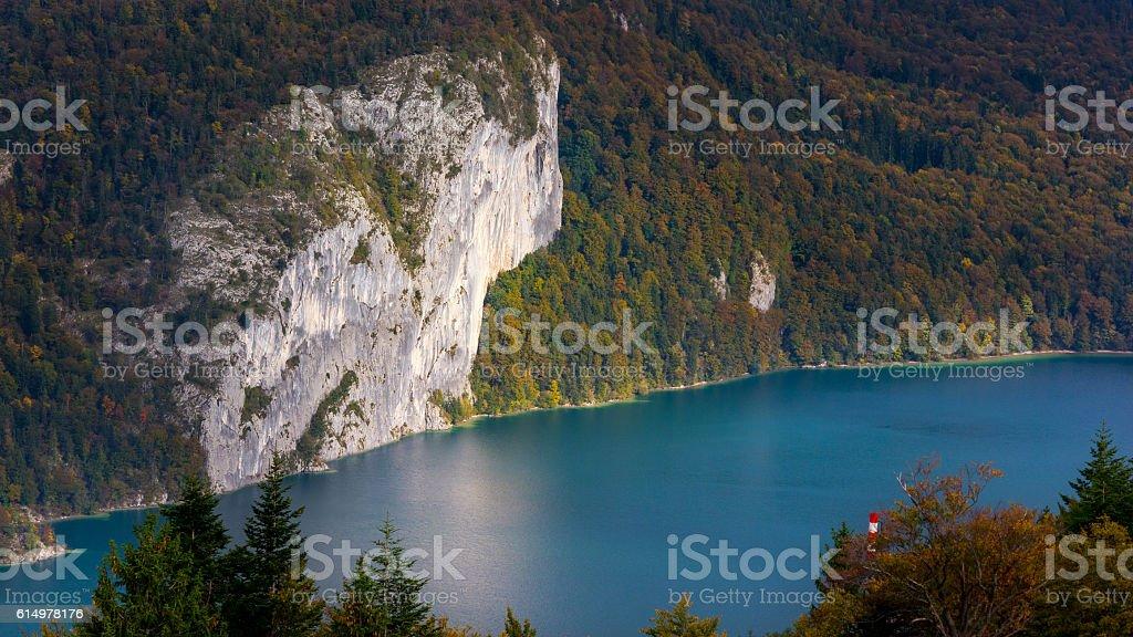Lake Wofgangsee, autumn stock photo