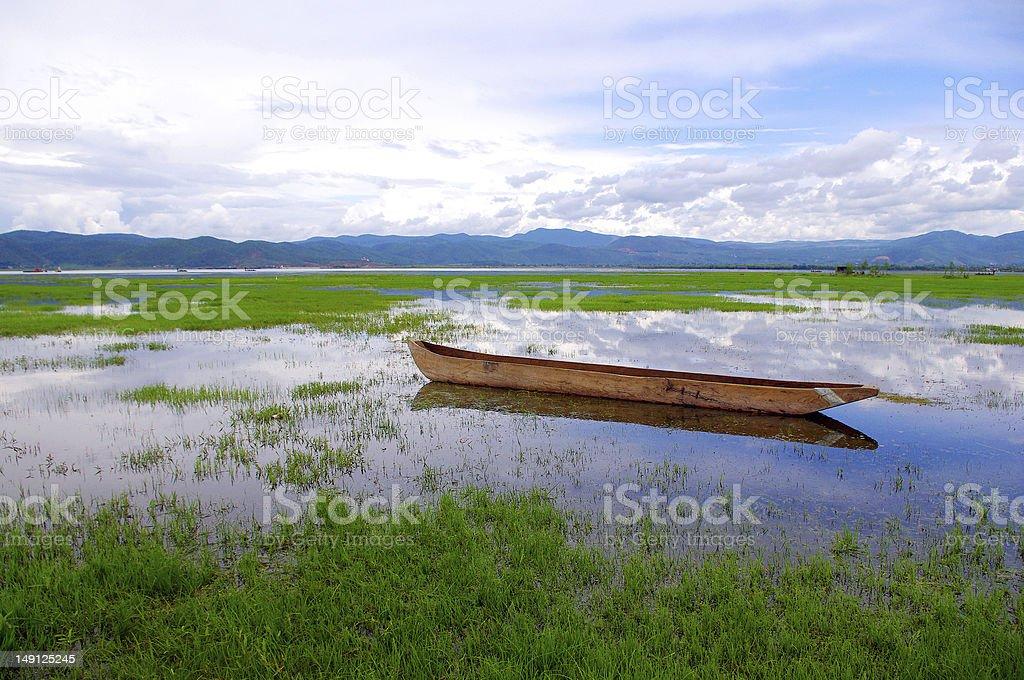 Lake wooden boat royalty-free stock photo