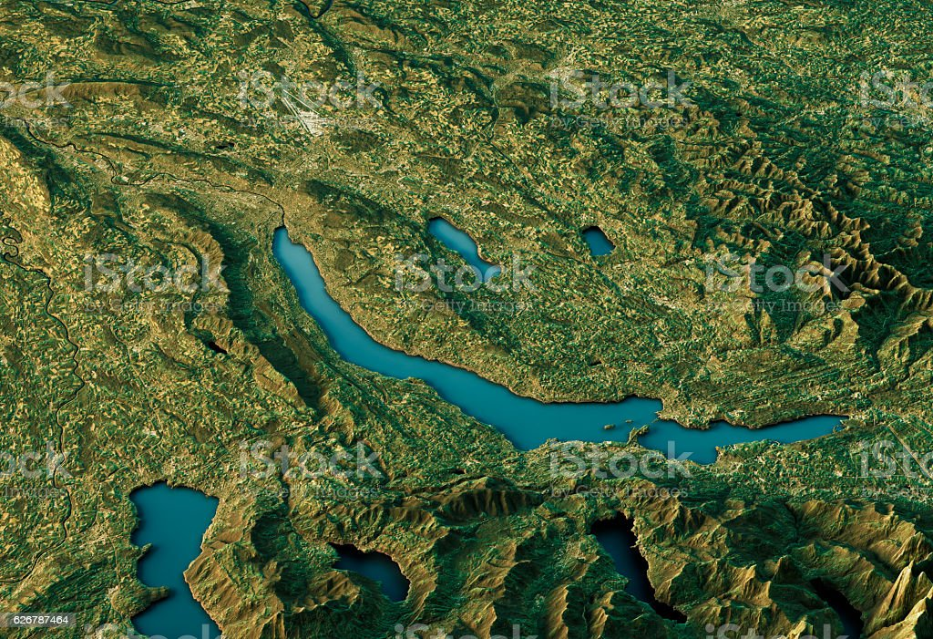 Lake Zurich 3D Landscape View South-North Natural Color stock photo