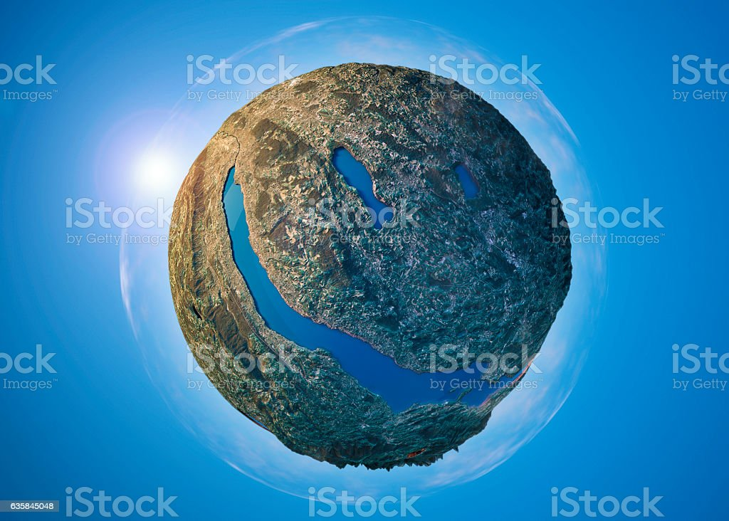 Lake Zurich 3D Little Planet 360-Degree Sphere Panorama stock photo