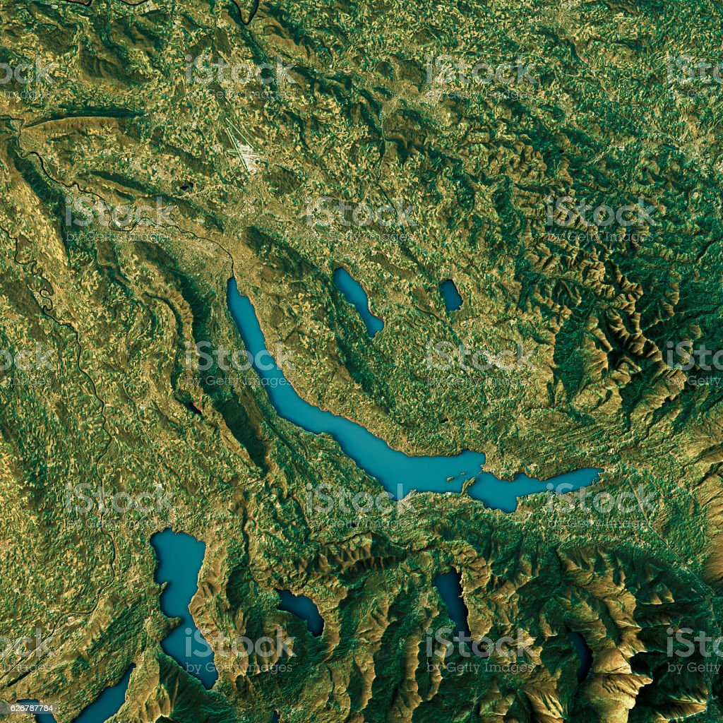 Lake Zurich Topographic Map Natural Color Top View vector art illustration