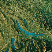 Lake Zurich Topographic Map Natural Color Top View