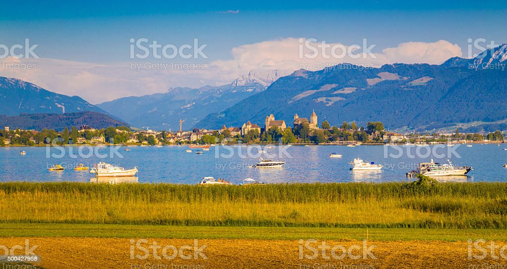 Lake Zurich with historic town of Rapperswil at sunset, Switzerland stock photo