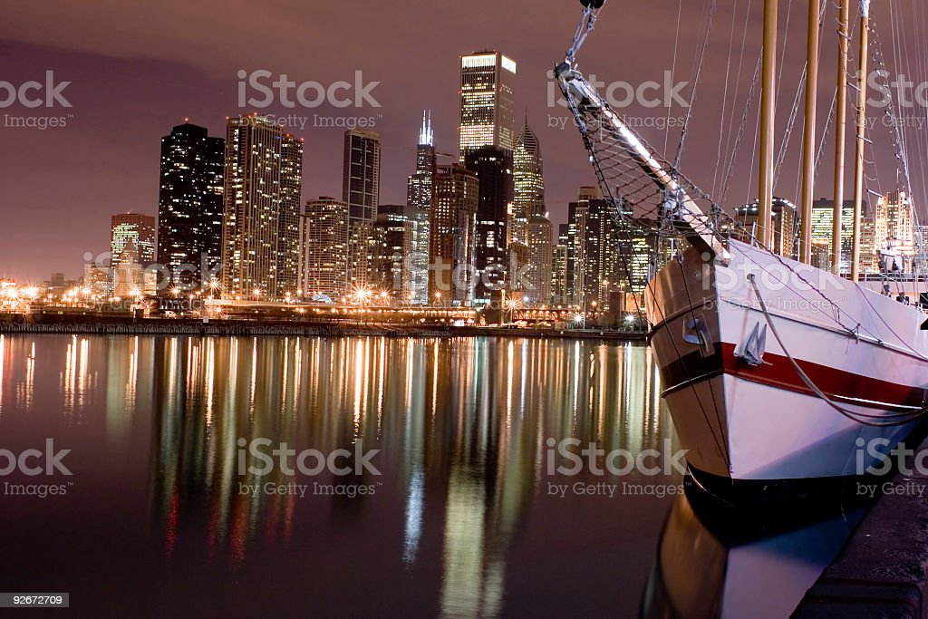 Lakefront and downtown Chicago from Navy Pier at night stock photo