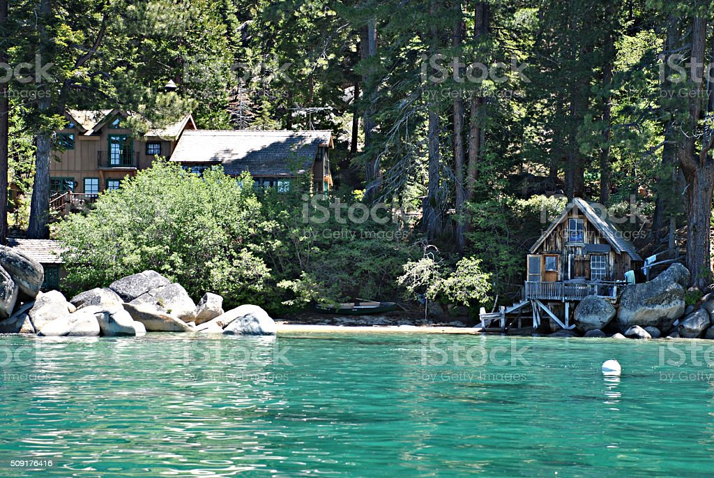 Lakefront Cabin In Lake Tahoe California Stock Photo