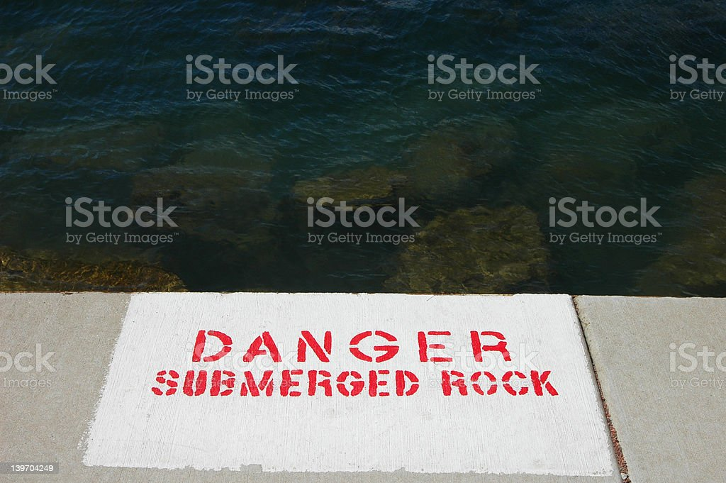 Lakefront Danger Sign royalty-free stock photo