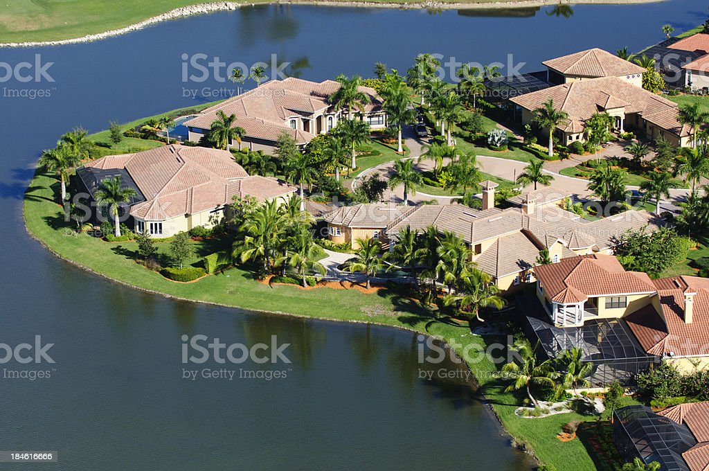 Lakefront Homes royalty-free stock photo