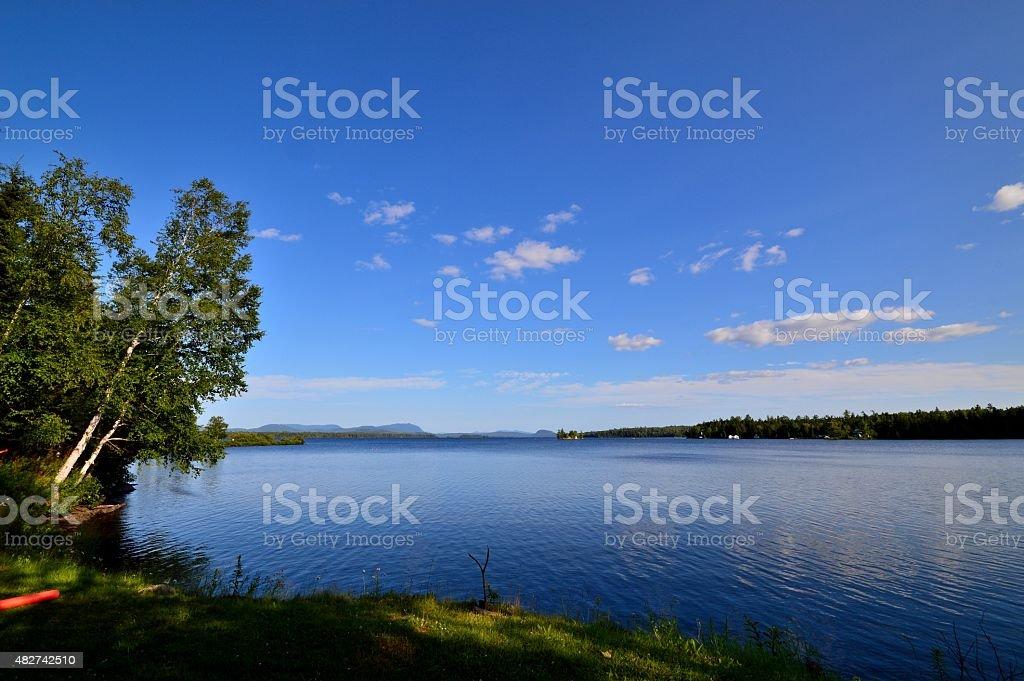 Lakefront Landscape Camping Spot stock photo