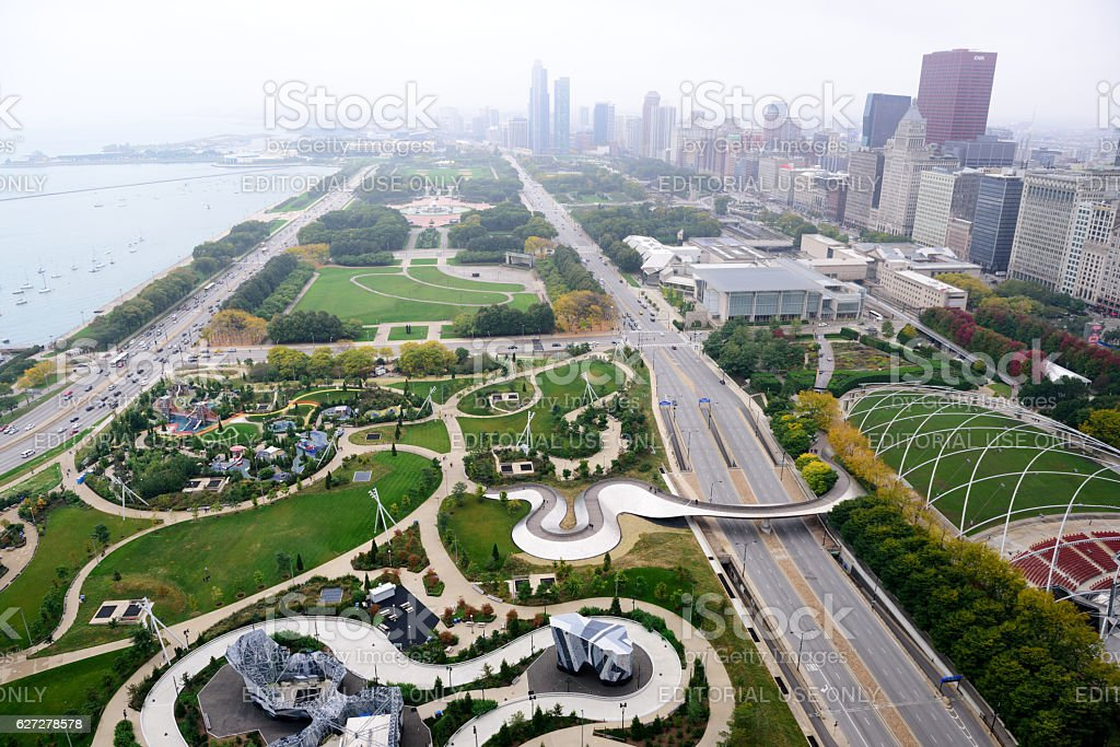 Lakefront parks,  Chicago,  from above stock photo