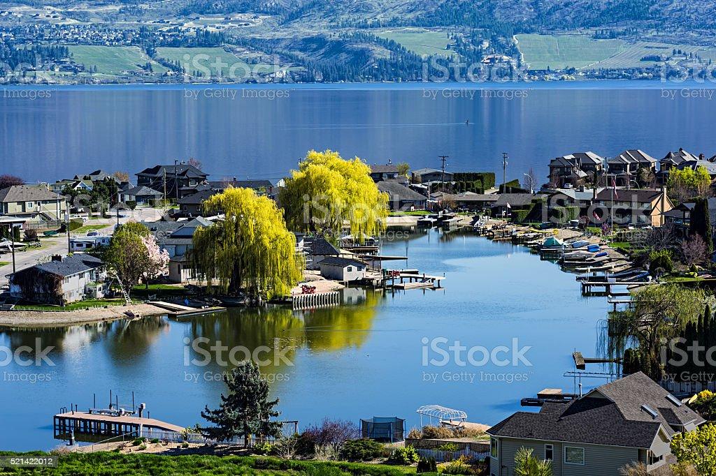 Lakefront Subdivision on Okanagan Lake West Kelowna British Columbia Canada stock photo