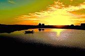 Lakehouses Boat Yellow Sunset Silhouette Nantucket