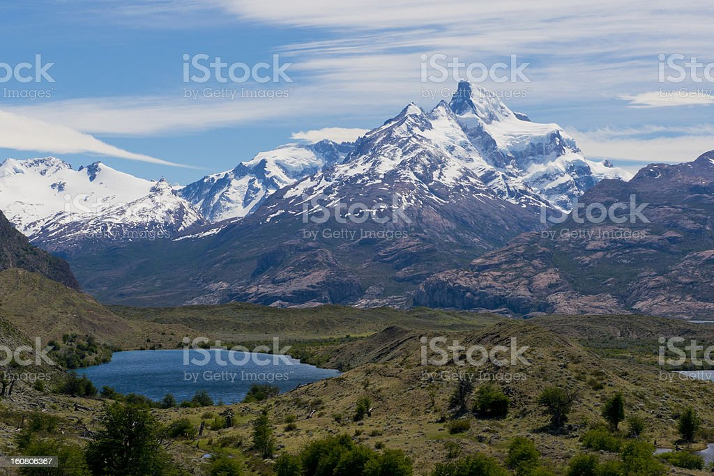 Lakes and Andes from Estancia Cristina stock photo