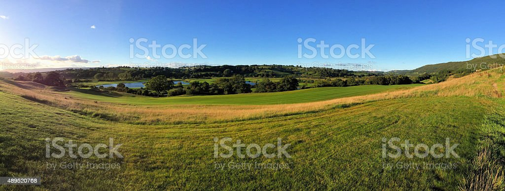 Lakes and fields stock photo