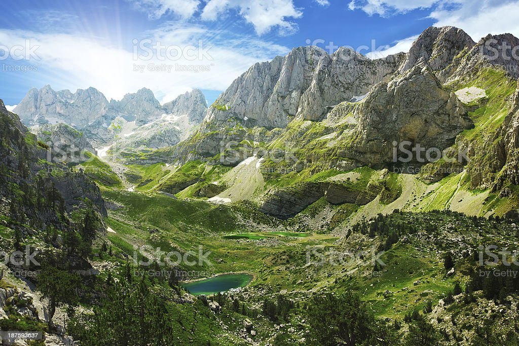 Lakes in Albanian Alps stock photo