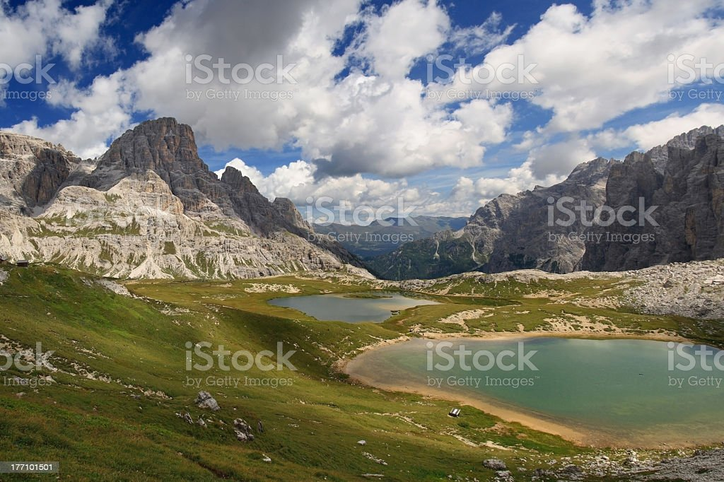 Lakes, mountains and clouds stock photo
