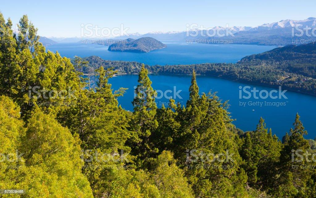 Lakes Nahuel Huapi and mountain Campanario stock photo