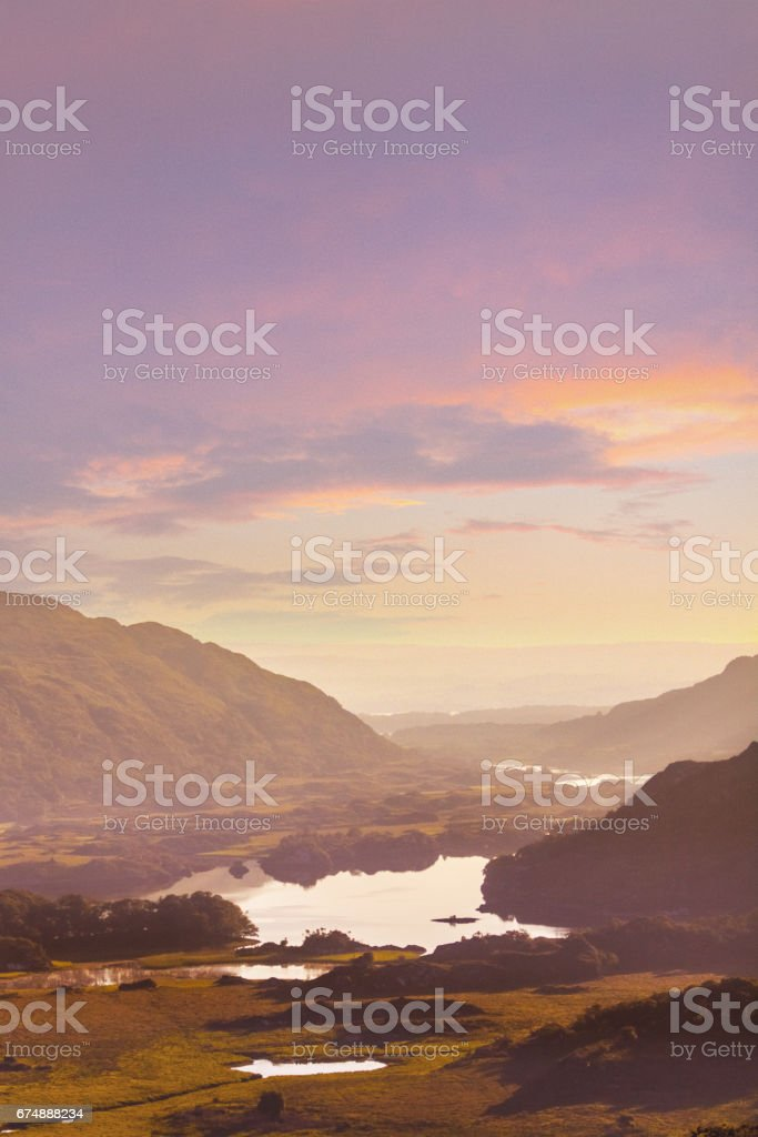 Lakes of Killarney at sunrise - Ring of Kerry, County Kerry, Ireland stock photo
