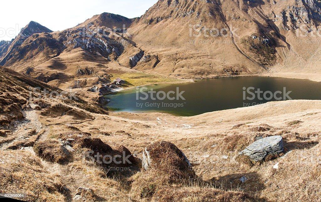 Lakes Ritom, Cadagno, Tom in the autumn stock photo