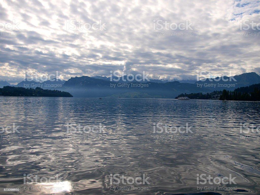 Lakescape of Lake Lucerne/Switzerland stock photo