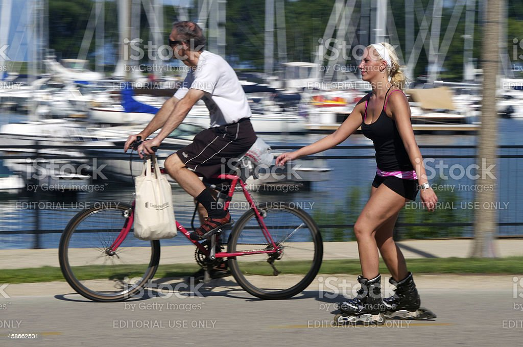 Lakeshore Cyclists in Chicago stock photo