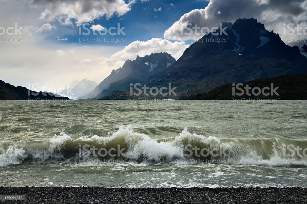 Lakeshore Wave in Patagonia stock photo