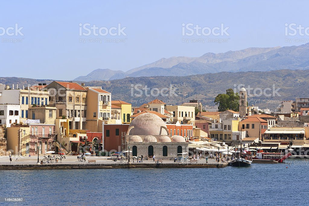 Lakeside and town view in chania in Crete stock photo