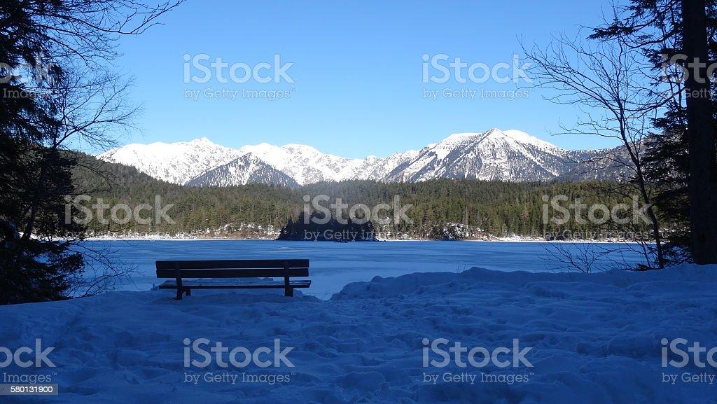 Lakeside Bench stock photo