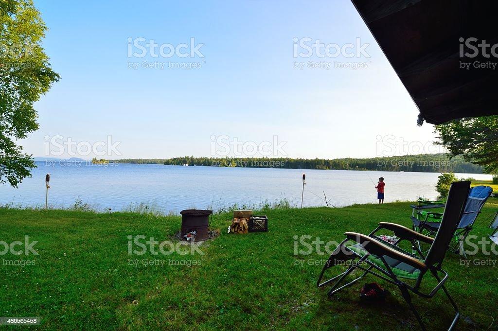 Lakeside Campsite Morning Fishing Session stock photo