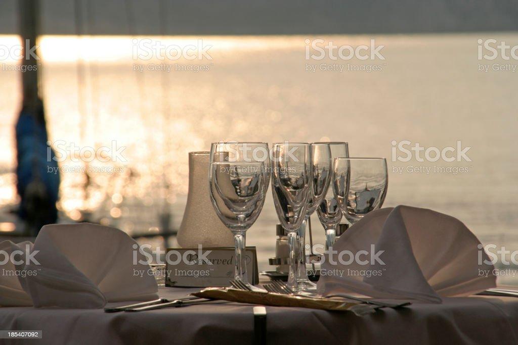 Lakeside Dinner stock photo