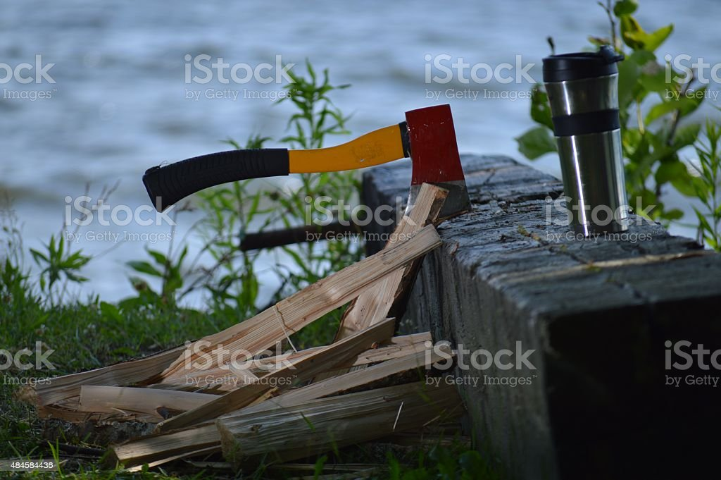 Lakeside Hatchet With a Cup of Coffee stock photo